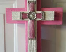 unique wall crosses pink wall cross etsy