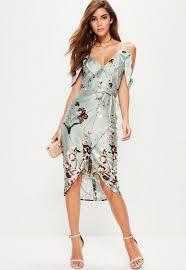 midi dress grey frill floral midi dress missguided