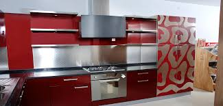 Modern Kitchen Accessories Appliances Red Glossy Sleek Modern Kitchen Cabinet High End