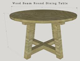 diy wood beam round dining table