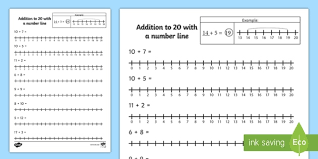 addition to 20 with a number line activity sheet number line
