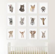 set of 12 prints animal art collection nursery art home zoom