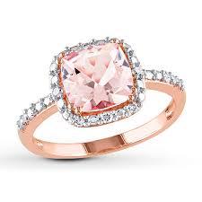 kay jewelers diamond engagement rings kay morganite ring 1 10 ct tw diamonds 10k rose gold