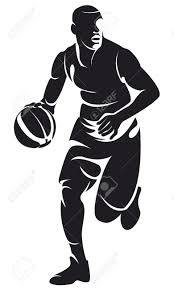 basketball player with ball silhouette royalty free cliparts