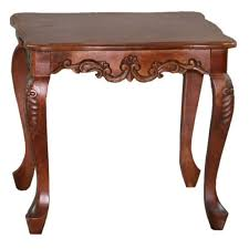 Square Carved Wood End Table At Brookstone Buy Now