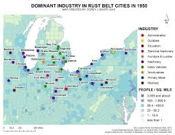 World Map 1950 March 2016 Dominant Industries In Rust Belt Cities In 1950