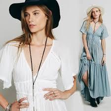 bohemian maxi dress summer long backless pleated hippie new
