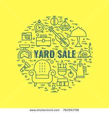 vector line style illustration garage sale stock vector 613410659