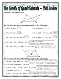 quadrilaterals the family of quadrilaterals unit review tpt