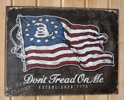 Don T Tread On Me Flag Origin Don U0027t Tread On Me Flag 1776 Tin Sign Metal Poster Vtg Garage Bar