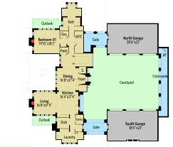 castle house plan with six master suites for a hillside lot