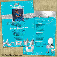 turquoise princess quinceanera invitations princess quinceanera