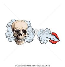 eps vector of smoke coming out of skull and lips with red lipstick