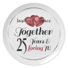25th anniversary plates personalized custom wedding anniversary plates