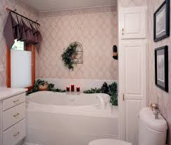 funky bathroom cabinets with traditional white pattern wallpaper