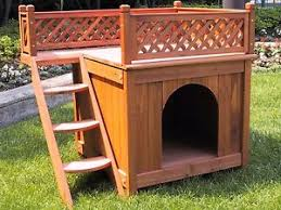 Dog Patio Pet Wooden Dog House Kennel Balcony Outdoor Patio Deck Home Indoor
