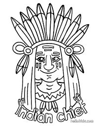 thanksgiving indian chief indian coloring pages hellokids com