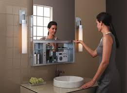 bathroom tube wall sconces applied in both sides of mirror