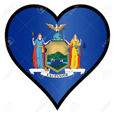 New York Flag New York State Flag Within A Heart All Over A White Background