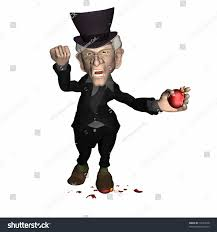 scrooge breaking ornaments stepping on stock