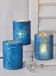 blue tea light candles azure blue embossed tealight holder