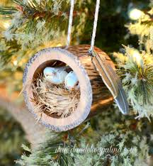 rustic log bird nest ornament dandelion patina