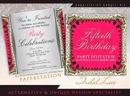 pink u0026 black tribal lace 50th birthday party invitations