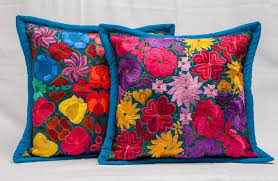 handmade mexican embroidered pillows with flower pattern