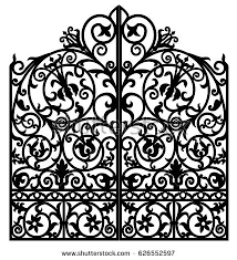 black metal gate forged ornaments on stock vector 626552597
