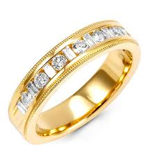 gold round rings images Mens 14k yellow gold 1 2ct baguette round diamond ring wedding jpg