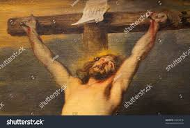 jesus on cross famous painting created stock photo 94556278