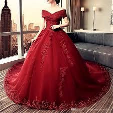 lace shoulder royal maroon wedding dresses
