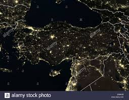 World At Night Map by Turkey At Night In 2012 This Satellite Image With Country Borders