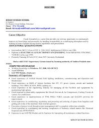 Electrical Supervisor Resume Sample by Kiran Cv
