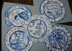 blue willow plates two birds flying high a vessel