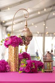 fuchsia peony gold lantern moroccan centerpiece 50th birthday
