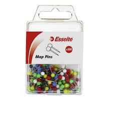 Map Pins Esselte Map Pins Assorted Colours 200 Pack Officeworks