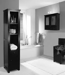 black wooden shelves on the floor and black wooden bathroom