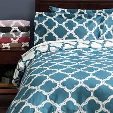 Overstock Duvet Lyon 300 Thread Count Cotton Percale Trellis Patterned 3 Piece