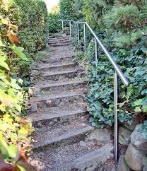 garten treppe metall werk zürich ag chromstahlhandlauf für gartentreppe