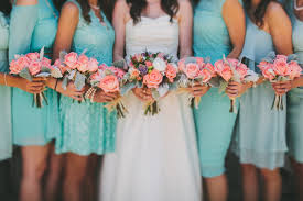 teal wedding wedding flowers to go with teal dresses modern orange turquoise