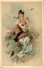 victorian era advertising card lady with flute by yesterdays