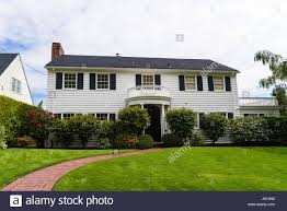 clapboard suburban house in classic american style stock photo