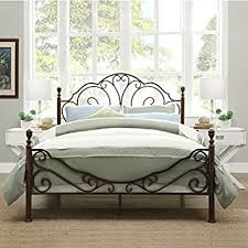Iron Frame Beds Leann Graceful Scroll Bronze Iron Bed Frame