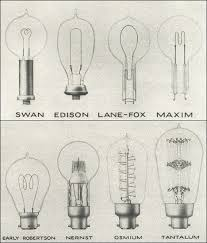 some early exles of incandescent ls light bulbs from the