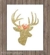 gold glitter deer head with floral crown 8x10 digital