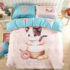 Childrens Duvets Sets 100 Cotton Cute Cat And Kitten Print Bedding Set Kids Cartoon