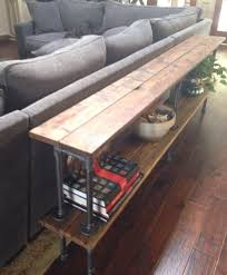 wood and iron sofa table 6 reclaimed cedar two shelf black steel pipe sofa table console