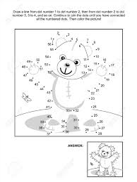 connect the dots picture puzzle and coloring page teddy bear