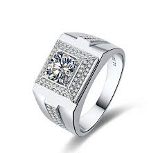 mens silver rings generous men jewelry luxury brilliant 1ct synthetic diamonds ring